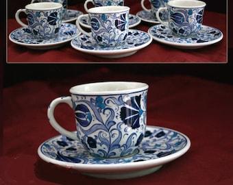 Traditional Handmade Turkish Coffee Cup Set, Espresso Cup Set, Mug, Gift Set