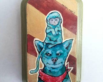 Green Shiba Inu and Monkey small print on wood with original details