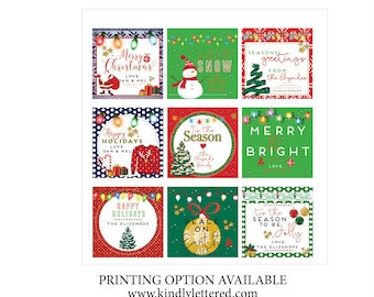 Personalized Christmas Tags-Holiday Present Tags-Holiday Gift Tags, Customized Gift Tags-Present Tags-Festive Tags
