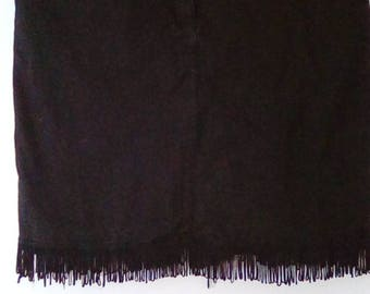 Vintage skirt fringed western style by Casual Separates black denim stretch fabric size medium