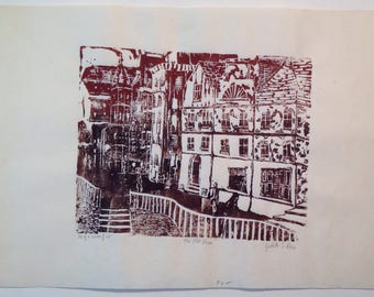 Signed numbered original Judith S Rein woodblock print The Old Town cityscape