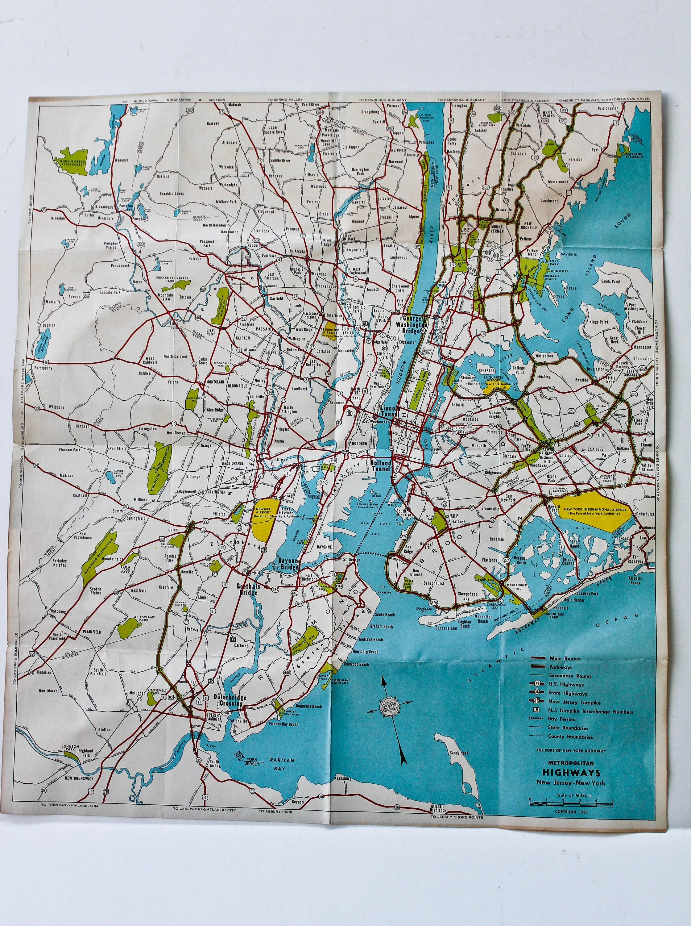1953 Metropolitan New Jersey New York Highways Map Brochure