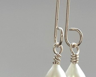 White Pearl Drop Earrings, Silver Dangle Earrings, Wedding Earrings, Handmade Earrings, White Drop Pearl Earrings, Bridal Jewelry