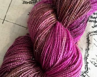 Turkish Delite, hand dyed yarn, 4ply, stellina, sparkle yarn, superwash merino