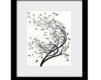8 x 10 Wind Blowing Tree Wall Art Print, Black and White Art for Home Decor, Tree Art Print (465)