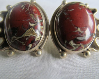 Bold Blood Red Mojave Red Turquoise Earrings Large Sterling Earrings Native American Jewelry Red Turquoise Jewelry Navajo Sterling Silver