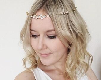 Gold bridal headpiece, simple bridal headband, bridal hair accessories, boho bride, boho bridal accessories, Swarovski crystal headband