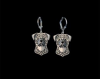 Rottweiler earrings - sterling silver.