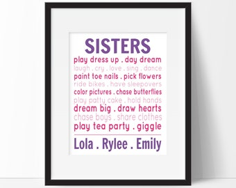 Sister Wall Art, Personalized Gift for Girls, Girls Room Decor, Sisters Nursery Prints, Sibling Decor