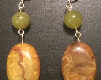 Jasper and Jade Tone Stone Dangle Earrings w/ silver findings