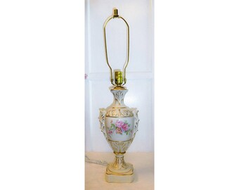 Delightful Pink Rose Lamp Ivory Color Ceramic Body Gold Leaf Highlights