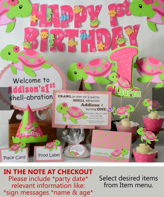 TURTLE Birthday Party Decorations or Baby Shower Girl Pink