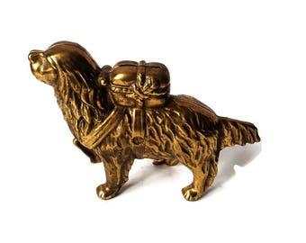 Vintage AC Williams Style Bank/ Brass Saint Bernard Newfoundland Still Bank/ Cast Iron Dog Coin Bank, Canine Collectible