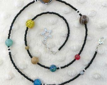 Solar system necklace, Outer-space necklace, Planets necklace, Solar system jewelry, Cosmic necklace