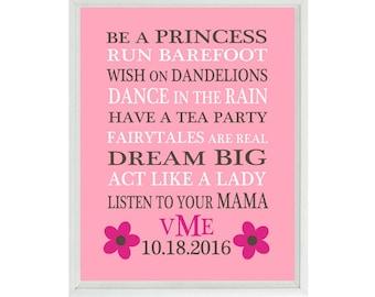 Baby Girl Nursery Art, Girl Rules Print, Monogram, Birthday, Pink, Brown, Girl Wall Art, Typography, Baby Gift, Personalized, Girl Print