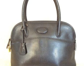 Genuine vintage PARRI Firenze black leather dome satchel bag purse