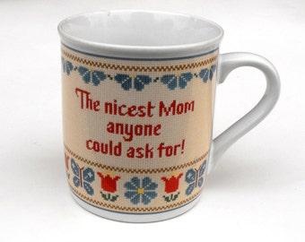 1983 Hallmark Mother Coffee Mug Floral Flower Butterfly Mother's Day Gift - Nicest Mom Nostalgic Needlepoint Cross Stitch Mug Mates Tea Cup