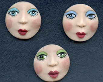 """A Lot of 3  Fleshtone detailed  Round 1 1/4"""" Polymer Face Cabs Un Drilled OEDF 3"""