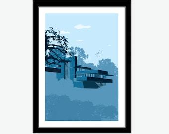 Fallingwater House, Architecture print, Fallingwater print, Fallingwater poster, Fallingwater art, Frank Lloyd Wright, architecture art
