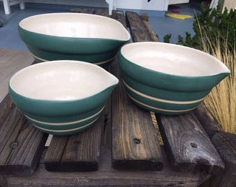 Mid Century Era New Debco Matte Green Mixing Bowls Set of 3 Cream Stripes Nesting Bowls