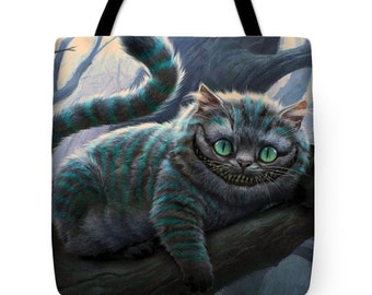 Cheshire Cat Tote Bag, Purse, Gym, Groceries, School, Picnic, Vacation, Beach, Carry All,