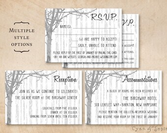 Printable Wedding Enclosure Cards - Winter Trees - 3.5x5 - R.S.V.P. Response Reception Accommodations Lodging Other Cards