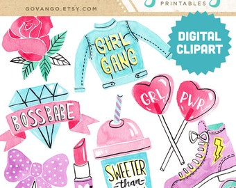 GRL PWR Digital Clipart Instant Download Illustration Collage Ephemera Commercial Watercolor Art Girl Power Feminist Women Girl Gang Lady