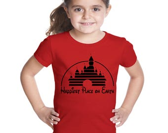 Happiest Place on Earth girl's Disney shirt with vintage magic kingdom castle
