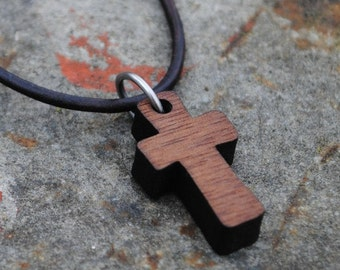Walnut or Maple Wooden Cross Necklace Christian Jewelry Small Dainty Cross Gift for Girls or Boys First Holy Communion Confirmation