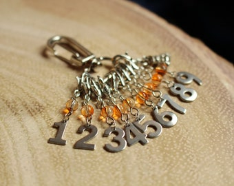 Buddha Count Keepers - Progress Keepers 1 - 9 - Stainless Steel Knit or Crochet Stitch Markers - Numbers 1-9 - Mandarin Orange