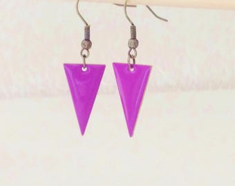 Graphic earrings was reversed triangle enamel purple two-sided spring