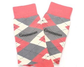 Wedding Groomsman Custom Text Coral Gray Wedding Socks for Groomsmen, Groom, Ushers, Fathers