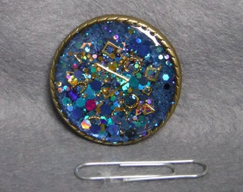 Blue sparkly abstract brooch (resin and mica)
