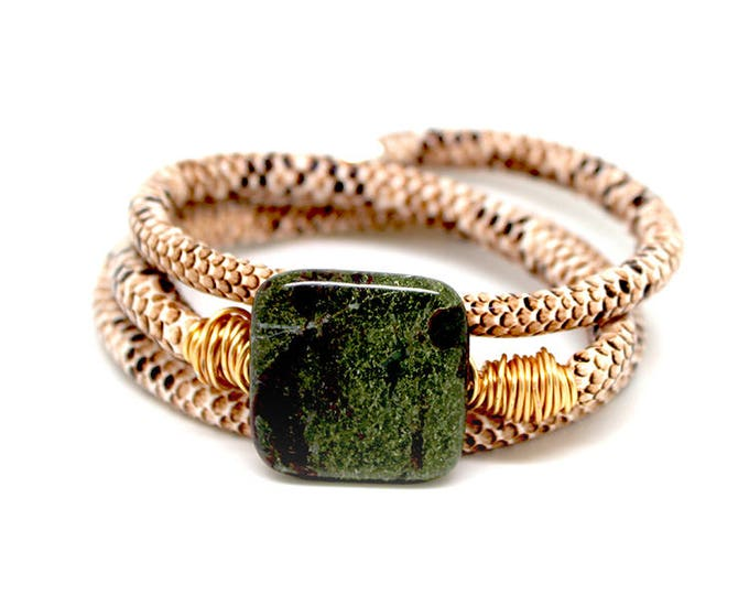BAS x WFDN tan snake skin bracelet/necklace with dragons blood jasper and wire twist metal detail