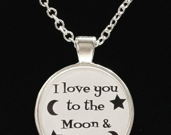 I Love You To The Moon And Back Quote Best Friend BFF Couple Necklace