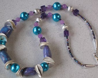 "NEW Purple & Blue Turquoise and Turquoise Blue Glass Pearl Necklace 24-1/2"" Long, Sterling Silver, Amethyst, Jade, Crystal, Art Deco"