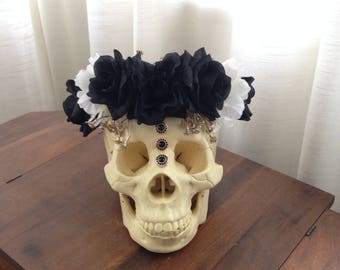 Jeweled Floral Sugar Skull - Faux Human Skull Black Flowers Roses Gold Babies Breath Decor Room Decoration Jewels Adorned Beaded Decorated