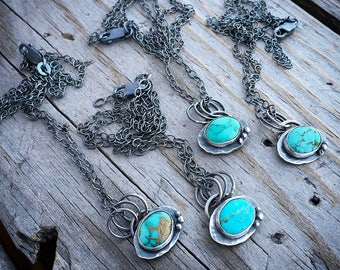 Forget Me Not Necklace Sterling Silver & Turquoise Necklace Handmade Wild Prairie Silver Jewelry