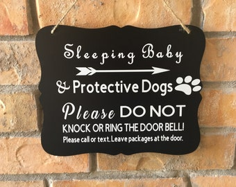 Sleeping Baby and Protective Dog(s) Door Sign Baby Shower Gift Do Not Knock Do Not Distrub Outside Door Hanger