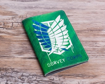 Attack On Titan Passport Cover, Survey Corps Passport Wallet, Anime genuine leather passport ID cover holder