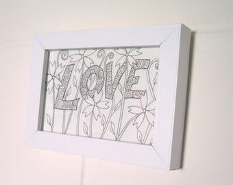 Love and Flowers Ink Drawing Postcard , Original Artwork