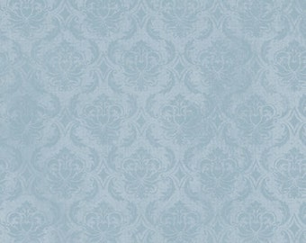 Gorjuss Blue Damask Fabric -  On Top of the World Damask by Santoro for Quilting Treasures - 23569 B Blue  - End of Bolt 30-Inch