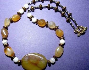 Golden Agate Gemstone Necklace