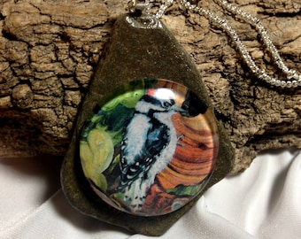 Downey Woodpecker on Montana Slate Rock. Hand polished / bird necklace, animal necklace, natural, hand made by Montana Artist