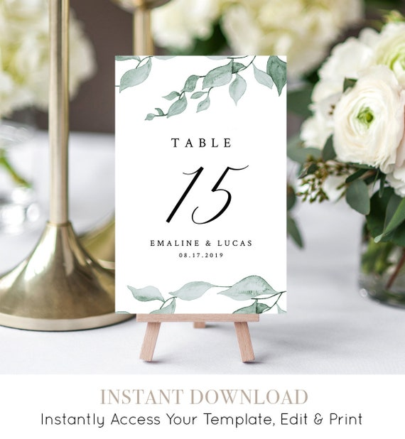 Table Card Template, Wedding Table Number Printable, Watercolor Greenery, Boho, 100% Editable, INSTANT DOWNLOAD, Flat & Tent #019-120TC