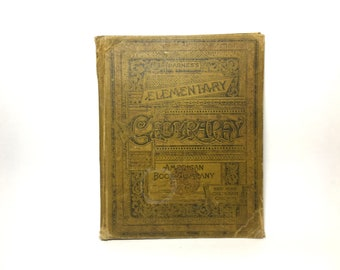 Vintage 1895 Barnes's Elementary Geography Book