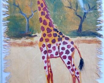 Afrikanische Malerei einer Giraffe - montiert auf Grußkarte