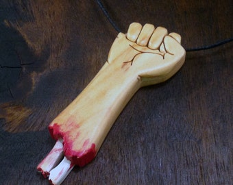 Severed Zombie-arm pendant made from Alder wood - hand cut with scroll saw - FREE GLOBAL SHIPPING
