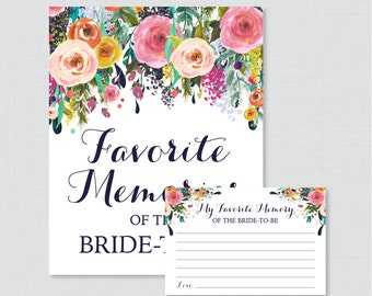Favorite Memories of the Bride To Be Activity - Printable Floral Bridal Shower - Shabby Chic Garden Bridal Shower Memory Activity - 0002-B