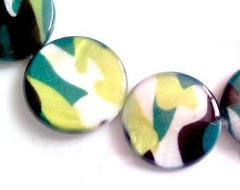 Set of 20 beads in mother-of-Pearl, camouflage print